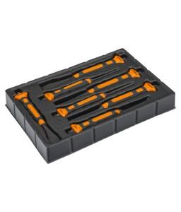 3654BMS/7 ανομοιογενή οικοδόμου σετ κοπιδιών με δύο στοιχείων χειρολαβή - 7 τεμάχια/πλαστικό σχάρα BAHCO