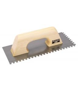 209227060 μυστρί σοβατίσματος με τετράγωνη οδοντωτή δόντια ανθρακοχάλυβα λεπίδα και ξύλινη χειρολαβή BAHCO