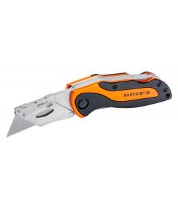 KBTU-01 αθλητικό αναδιπλούμενο βοηθητικό μαχαίρι με αλουμινίου χειρολαβή και δίδυμες λεπίδες BAHCO