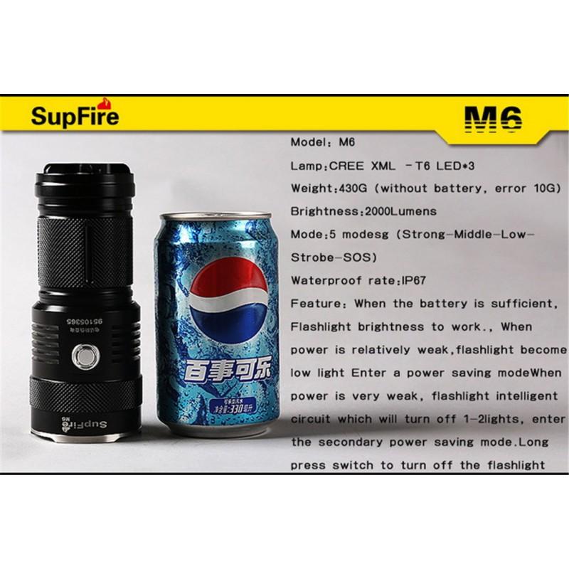 M6 Φακός Χειρός Επαναφορτιζόμενος SUPFIRE