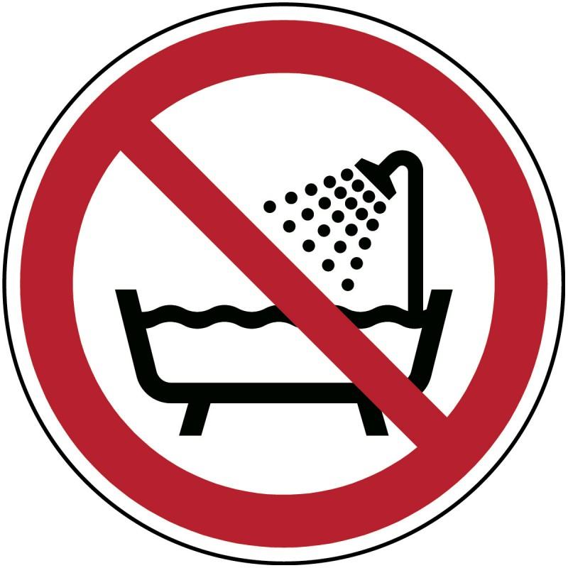 P026 - Μην χρησιμοποιείτε τη συσκευή σε μπανιέρα, ντους ή δεξαμενή με νερό