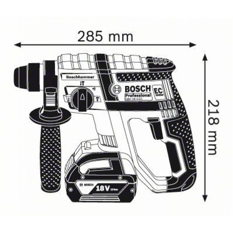 GBH 18 V-EC solo (χωρίς μπαταρίες και φορτιστή) L-Boxx ΠΙΣΤΟΛΕΤΟ Μπαταρίας BOSCH