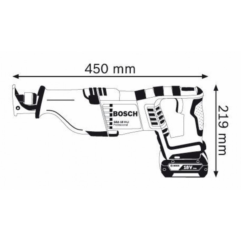 GSA 18 V-LI (SOLO) Σπαθόσεγα Μπαταρίας ΙΟΝΤΩΝ-ΛΙΘΙΟΥ BOSCH