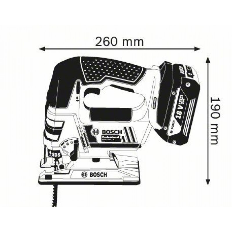 GST 18 V-LI B solo (χωρίς μπαταρίες και φορτιστή) L-Boxx Σέγα Μπαταρίας BOSCH