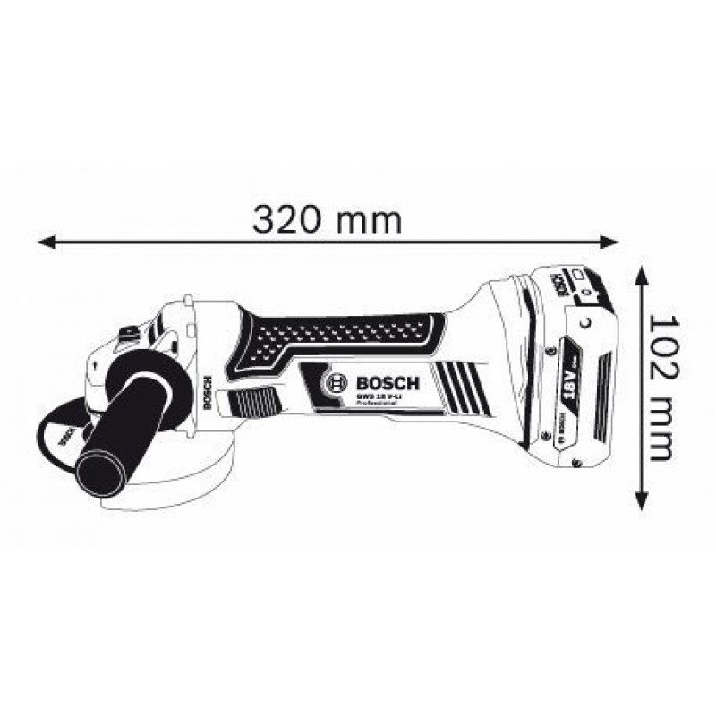 GWS 18 V-LI solo (χωρίς μπαταρίες και φορτιστή) ΤΡΟΧΟΣ Μπαταρίας BOSCH