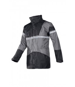 Cloverfield Αδιάβροχο Μπουφάν με αποσπωμένο Γιλέκο Γκρί-Μαύρο SIOEN