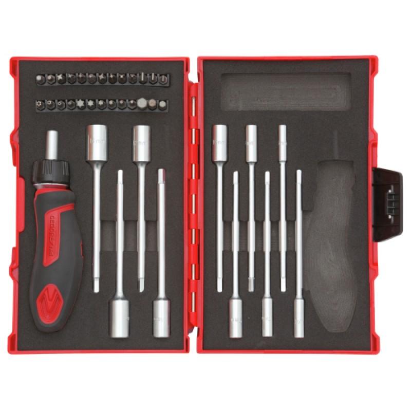 3300025 Σετ εργαλεία με λαβή T-καστάνια 1/4in 37τμχ GEDORE RED