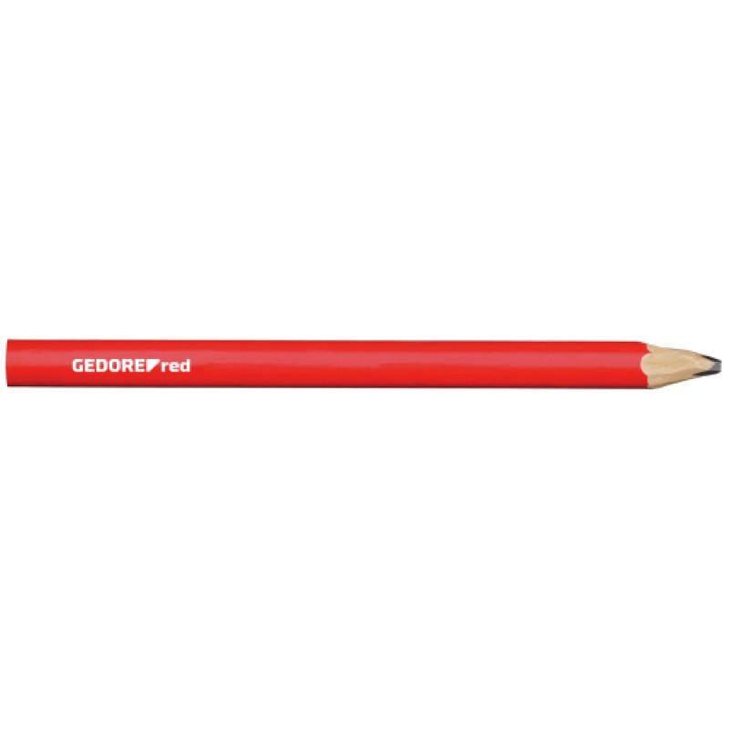 3301432 Μολύβι τεχνίτη μήκος 175mm οβάλ κόκκινο 12τμχ. GEDORE RED