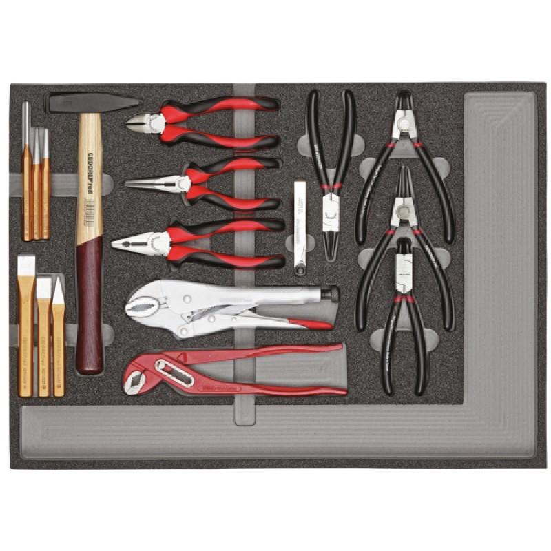 3301682 Σετ εργαλείων πένσες+εργαλεία κρούσης μονάδα CT 29τμχ GEDORE RED