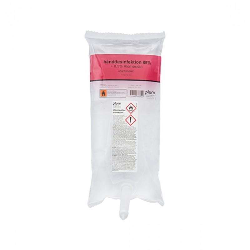3866 Disinfector 85% Liquid + 0.5% Chlorhexidin Απολυμαντικό Χεριών 1.0 l Σακούλα PLUM