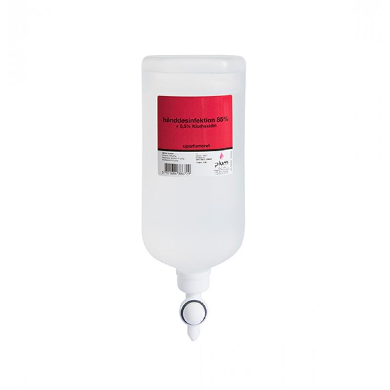 38671 Disinfector 85% Liquid + 0.5% Chlorhexidin Απολυμαντικό Χεριών 1.0 l Σακούλα Διανομέα PLUM