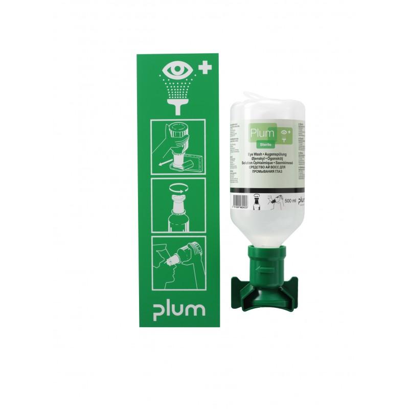 4611 Σταθμός Πλύσης Ματιών 1 Μπουκάλι 1 x 500 ml Μπουκάλι με Συσκευή Ανάρτησης σε Τοίχο και Πικτόγραμμα PLUM