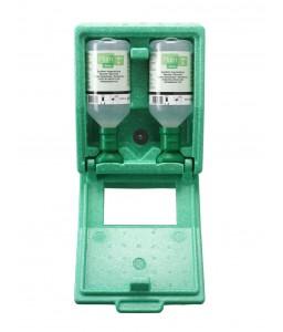 4650 Σταθμός Πλύσης Ματιών 2 Μπουκαλιών αδιαπέραστος από σκόνη 2 x 500 ml Μπουκάλια in αδιαπέραστο από σκόνη σταθμό με Καθρέφτη και Πικτόγραμμα PLUM