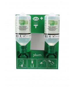 4694 Σταθμός Πλύσης Ματιών 2 Μπουκάλια 2 x 500 ml Μπουκάλια mounted on σταθμό με Καθρέφτη και Πικτόγραμμα PLUM