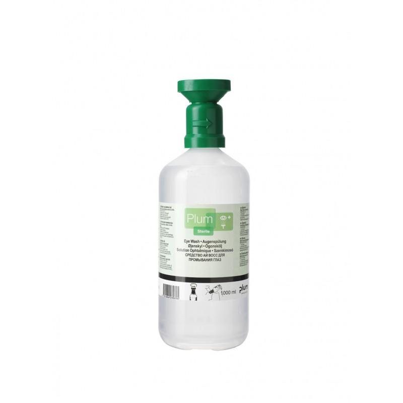 4707 Πλυντηρίδα Ματιών 0,9% Διάλυμα Χλωριούχου Νατρίου , 1000 ml Μπουκάλι με κύπελο οφθαλμού και καπάκι σκόνης PLUM