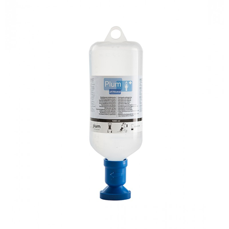 4746 Πλυντηρίδα Ματιών Ουδέτερου pH DUO 4,9% Φωσφορικoύ ρυθμιστικού διαλύματος , 1000 ml Μπουκάλι με shower head και καπάκι σκόνης PLUM