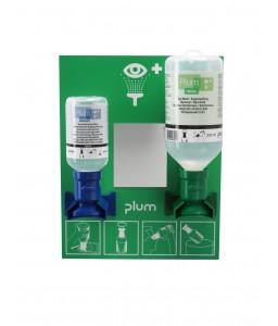 4773 Σταθμός πλύσης ματιών με 1 x 200 ml pH Ουδέτερο και 1 x 500 ml  τοποθετημένα στο Σταθμό με καθρέφτη και πικτόγραμμα PLUM