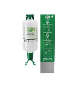 4802 Σταθμός Πλύσης Ματιών 1 Μπουκάλι DUO 1 x 1000 ml Μπουκάλι με δύο πλυντηρίδες + Συσκευή Ανάρτησης σε Τοίχο και Πικτόγραμμα PLUM