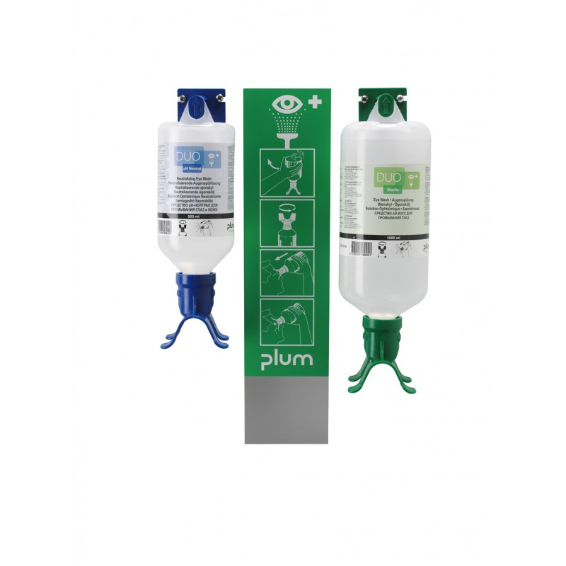 4803 Σταθμός Πλύσης Ματιών/pH Ουδέτερο DUO 1 x 500 ml pH Ουδέτερο και 1 x 1000 ml eye wash Μπουκάλι με δύο πλυντηρίδες Τοποθετημένα στο Σταθμό με Καθρέφτη και Πικτόγραμμα PLUM