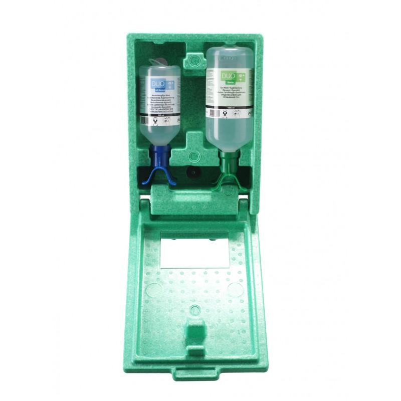 4810 Σταθμός Πλύσης Ματιών/pH Ουδέτερο αδιαπέραστος από σκόνη , DUO 1 x 500 ml pH Ουδέτερο και 1 x 1000 ml eye wash Μπουκάλι με δύο πλυντηρίδες mounted in αδιαπέραστο από σκόνη σταθμό με Καθρέφτη και Πικτόγραμμα PLUM