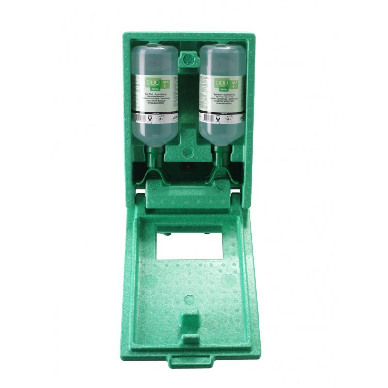 4816 Σταθμός Πλύσης Ματιών 2 Μπουκαλιών , αδιαπέραστος από σκόνη DUO 2 x 1000 ml Μπουκάλια in αδιαπέραστο από σκόνη σταθμό με Καθρέφτη και Πικτόγραμμα PLUM
