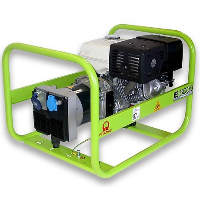 E5000 Ηλεκτρο - Γεννήτρια Βενζίνης 1-Φασική 4,2 kVA με Χειρόμιζα και χειροκίνητο πίνακα ελέγχου Honda GX270 PRAMAC