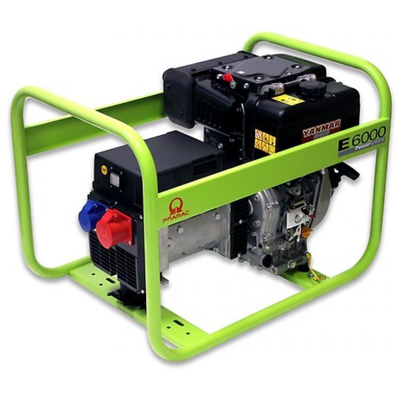 E6000 Ηλεκτρο - Γεννήτρια Πετρελαίου 3-Φασική 5,7 kVA με Χειρόμιζα και χειροκίνητο πίνακα ελέγχου Yanmar L100 PRAMAC