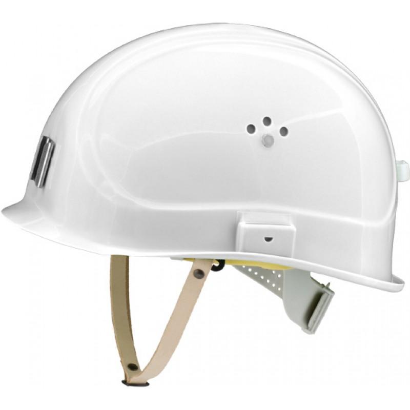 Canal Worker Helmet Kράνος Τάφρων ,Υπόγειων Στοών κοντό ράμφος , με άγγιστρο καλωδίου λάμπας και δερμάτινο υποσιάγωνο Σήμανσης Άσπρο RAL 9003 VOSS