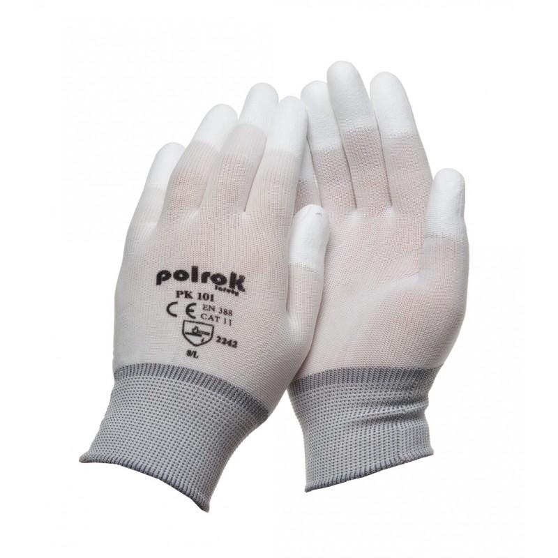 PK 101 Γάντια εργασίας από Άσπρο Nylon PU επενδεδυμένα ακροδάκτυλα POLROK