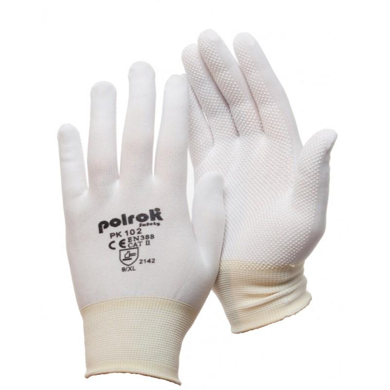 PK 102 Γάντια εργασίας από Άσπρο Nylon με PVC τελείες POLROK