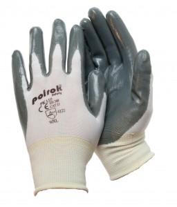 PK 110 Γάντια εργασίας Άσπρο nylon Γκρι επένδυση στην NBR παλάμη POLROK