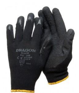 PK 250 B Γάντια εργασίας Μαύρο TC liner Μαύρο Ρυτιδωμένο latex επένδυση POLROK