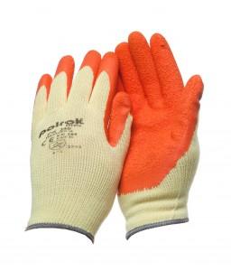 PK 250 O Γάντια εργασίας Κίτρινο TC liner Πορτοκαλί Ρυτιδωμένο latex επένδυση POLROK