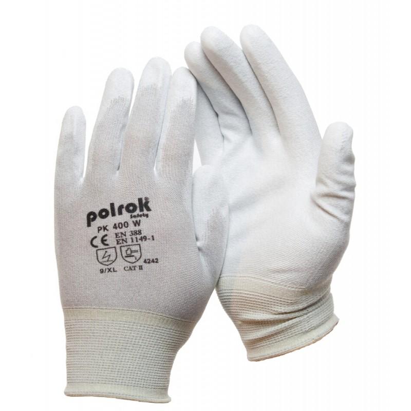 PK 400 W Γάντια εργασίας Αντιστατικά Carbon με παλάμη Πολυουρεθάνης (PU) POLROK