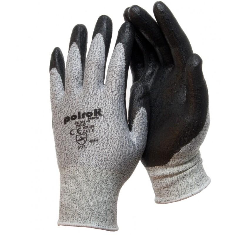 PK 501-2 Γάντια εργασίας Γκρι HPPE Μαύρο foam NBR παλάμη επένδυση CUT 3 POLROK