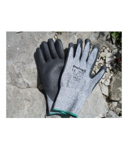 PK 530 Γάντια εργασίας HPPE Μαύρο με επένδυση παλάμης Πολυουρεθάνη (PU) CUT 5 POLROK