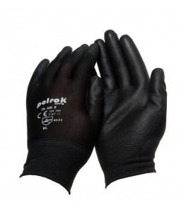 PK 600 B Γάντια εργασίας με παλάμη Πολυουρεθάνης (PU) Μαύρο Πολυεστέρα POLROK