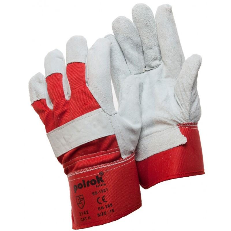 SS 1021 Γάντια εργασίας από Μοσχαρίσιο Δέρμα και ύφασμα Jean με Mανσέτα Ασφαλείας POLROK