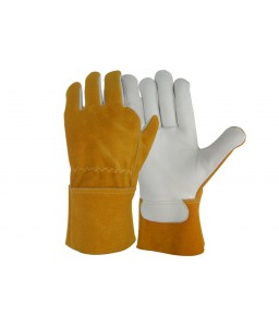 SS 1723 Γάντια εργασίας Ηλεκτροσυγκόλλησης Tig από Α' ποιότητας Μοσχαρίσιο Δέρμα, Καφέ suede Δέρμα με 7 cm μανσέτα, Kevlar ραφές POLROK