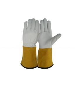 SS 1725 Γάντια εργασίας Ηλεκτροσυγκόλλησης Tig από Α' ποιότητας Κατσικίσιο Δέρμα, 14 cm Μπεζ Δερμάτινη Μανσέτα, Kevlar ραφές με τελείωμα Πολυεστέρα POLROK
