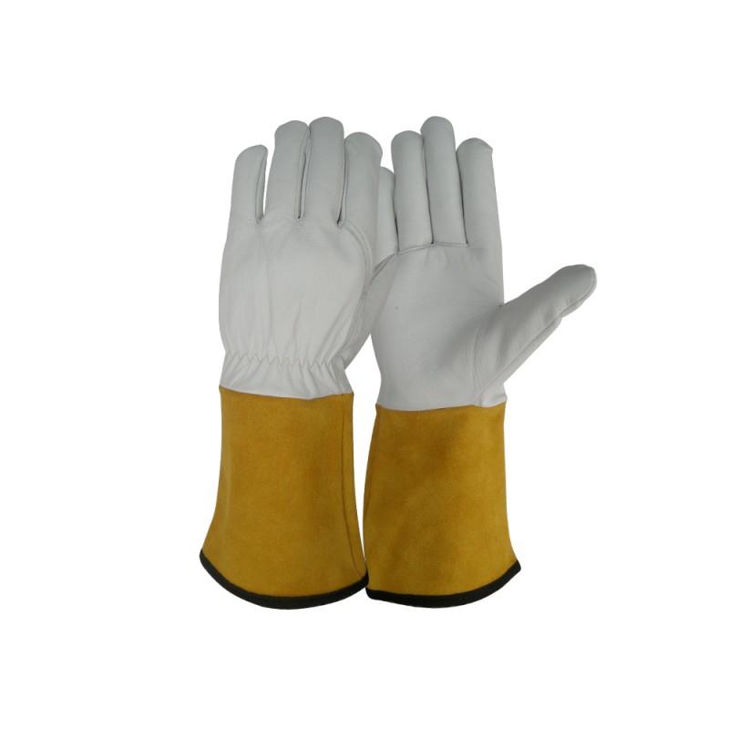 SS 1725 Γάντια εργασίας Ηλεκτροσυγκόλλησης Tig από Α ποιότητας Κατσικίσιο Δέρμα, 14 cm Μπεζ Δερμάτινη Μανσέτα, Kevlar ραφές με τελείωμα Πολυεστέρα POLROK