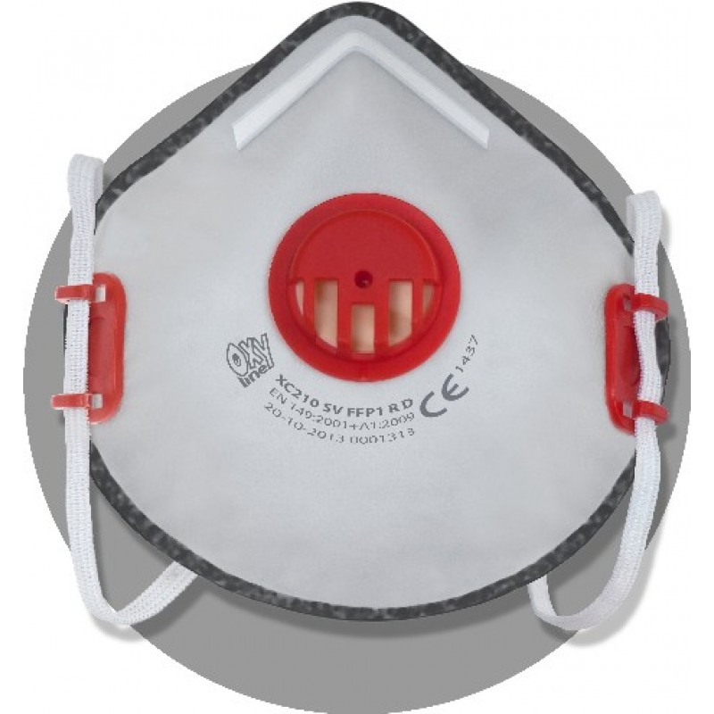 XC 210 SV FFP2 R D Μάσκα μιας χρήσης με βαλβίδα εκπνοής , ρυθμιζόμενα κεφαλοδέματα , 'άνετη' έπενδυση από την πλευρά του προσώπου και με ενεργό άνθρακα