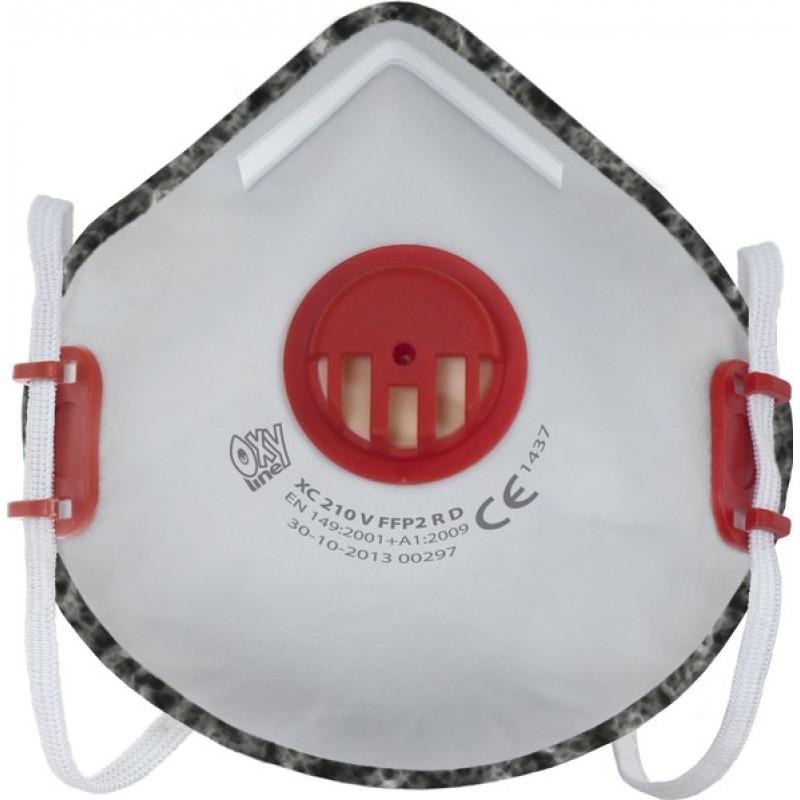 XC 210 V FFP2 R D Μάσκα μιας χρήσης με βαλβίδα εκπνοής και ρυθμιζόμενα κεφαλοδέματα με ενεργό άνθρακα