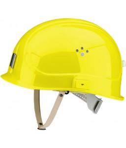 Canal Worker Helmet Kράνος Τάφρων ,Υπόγειων Στοών κοντό ράμφος , με άγγιστρο καλωδίου λάμπας και δερμάτινο υποσιάγωνο Θειαφιού Κίτρινο RAL 1016 VOSS