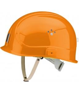 Canal Worker Helmet Kράνος Τάφρων ,Υπόγειων Στοών κοντό ράμφος , με άγγιστρο καλωδίου λάμπας και δερμάτινο υποσιάγωνο Κυκλοφορίας Πορτοκαλί RAL 2009 VOSS