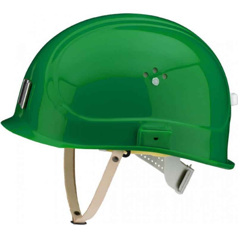 Canal Worker Helmet Kράνος Τάφρων ,Υπόγειων Στοών κοντό ράμφος , με άγγιστρο καλωδίου λάμπας και δερμάτινο υποσιάγωνο Μέντας Πράσινο RAL 6029 VOSS