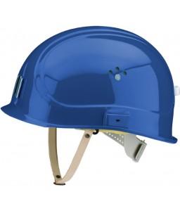 Canal Worker Helmet Kράνος Τάφρων ,Υπόγειων Στοών κοντό ράμφος , με άγγιστρο καλωδίου λάμπας και δερμάτινο υποσιάγωνο Σήμανσης Μπλε RAL 5005 VOSS