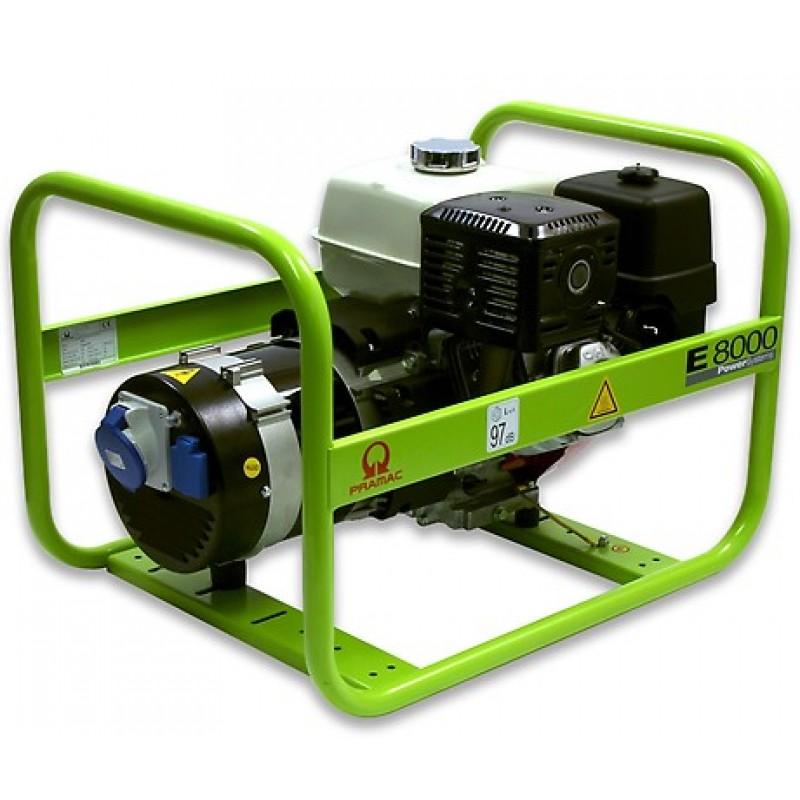 E8000 Ηλεκτρο - Γεννήτρια Βενζίνης 1-Φασική 6,0 kVA με Χειρόμιζα και χειροκίνητο πίνακα ελέγχου Honda GX390 PRAMAC