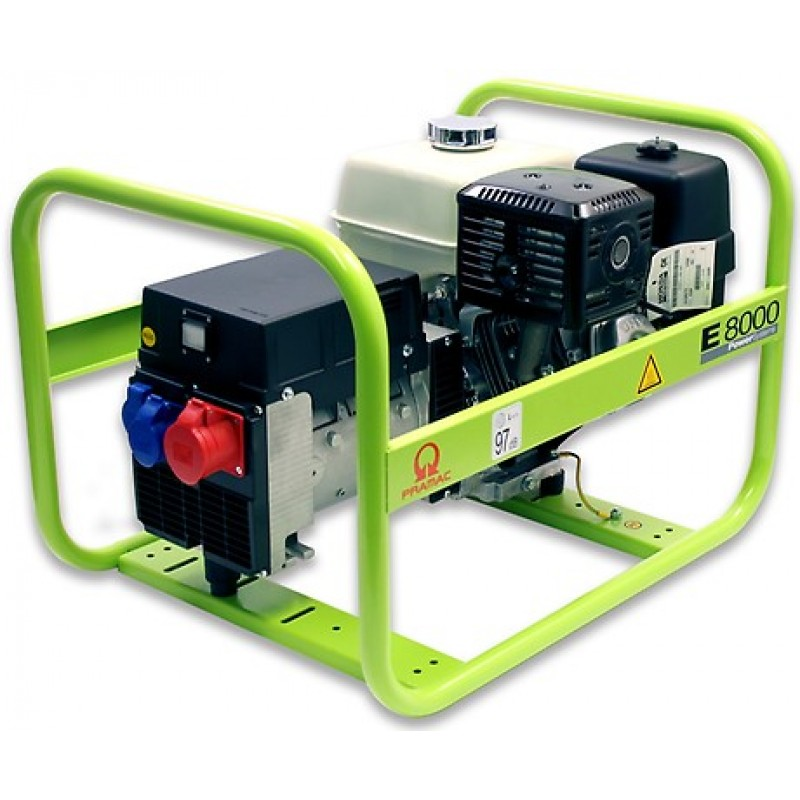 E8000 Ηλεκτρο - Γεννήτρια Βενζίνης 3-Φασική 7,0 kVA με Χειρόμιζα και χειροκίνητο πίνακα ελέγχου Honda GX390 PRAMAC